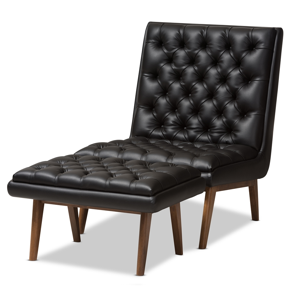 Baxton Studio Annetha Mid Century Modern Black Faux Leather Upholstered Walnut Finished Wood Chair And Ottoman Set