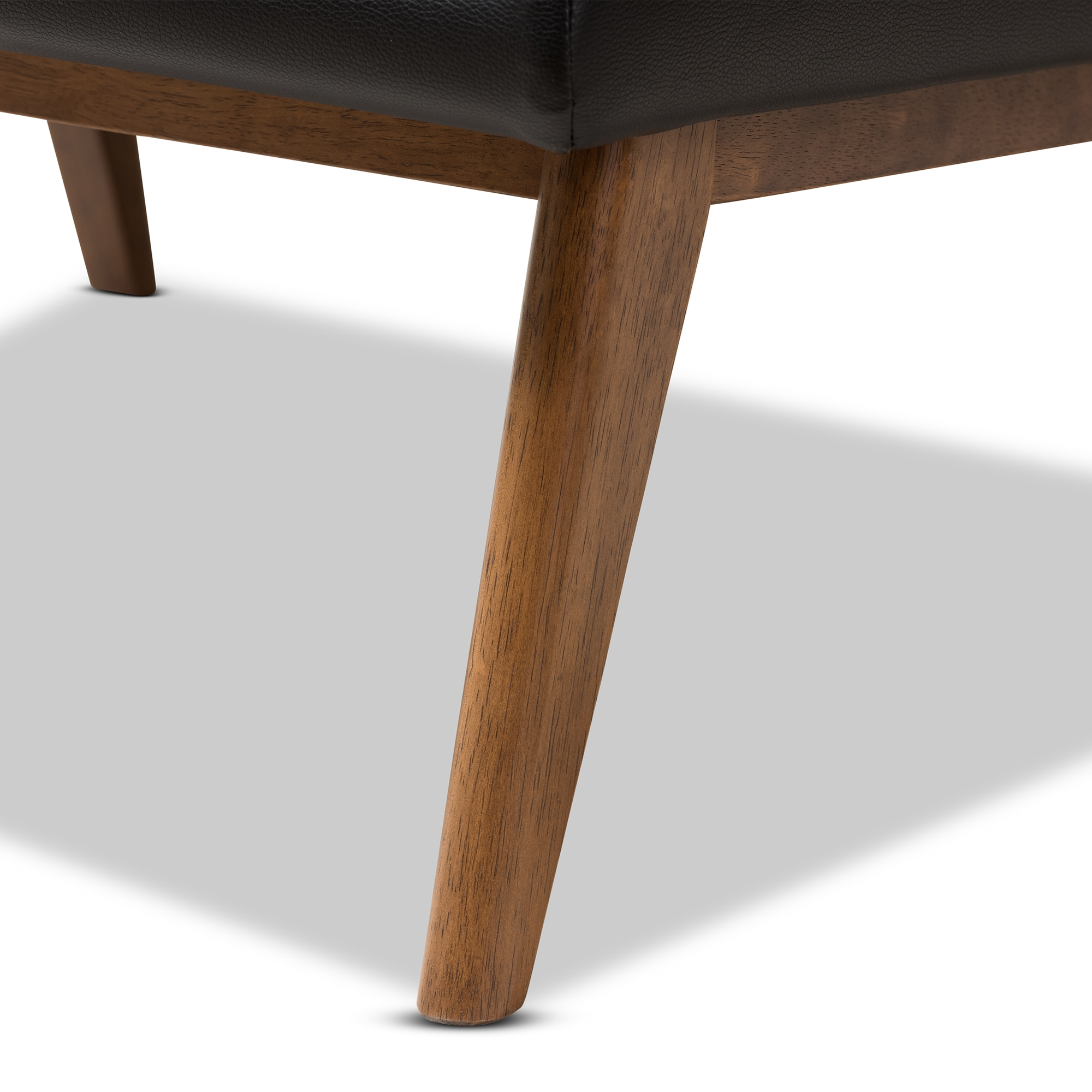 ... Baxton Studio Annetha Mid Century Modern Black Faux Leather Upholstered  Walnut Finished Wood Chair And ...