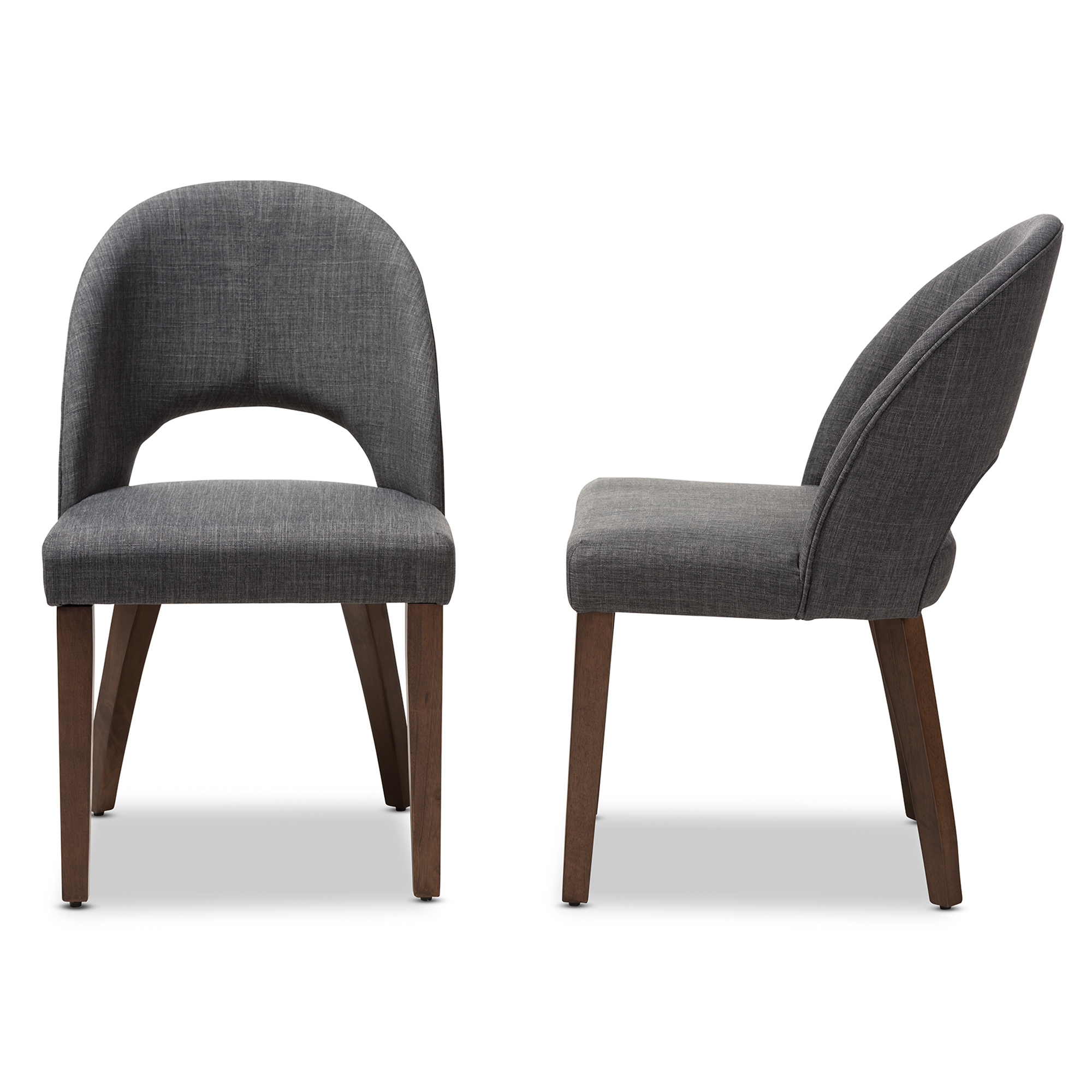 ... Baxton Studio Wesley Mid Century Modern Dark Grey Fabric Upholstered  Walnut Finished Wood Dining Chair ...