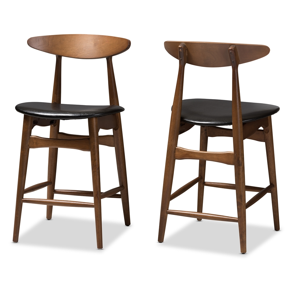 Fantastic Baxton Studio Flora Mid Century Modern Black Faux Leather Upholstered Walnut Finished Counter Stool Set Of 2 Squirreltailoven Fun Painted Chair Ideas Images Squirreltailovenorg