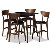 Baxton Studio Eline Mid-Century Modern Black Faux Leather Upholstered Walnut Finished 5-Piece Pub Set Baxton Studio restaurant furniture, hotel furniture, commercial furniture, wholesale bar furniture, wholesale pub set, classic pub sets