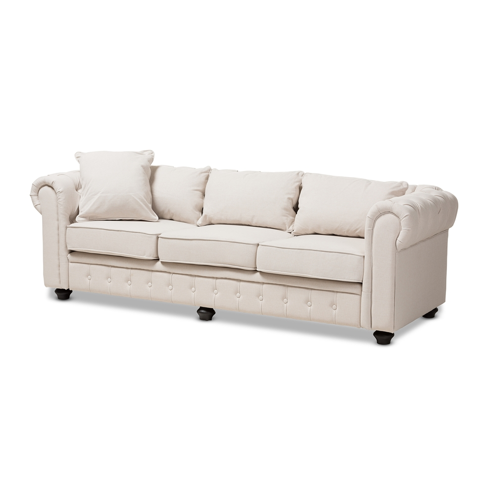 Baxton Studio Alaise Modern Classic Beige Linen Tufted Scroll Arm  Chesterfield Sofa