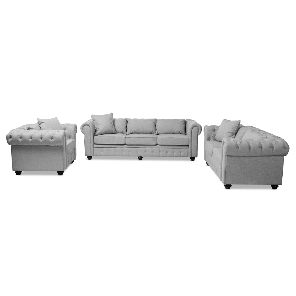 Pleasant Baxton Studio Alaise Modern Classic Grey Linen Tufted Scroll Arm Chesterfield 3 Piece Living Room Set Pabps2019 Chair Design Images Pabps2019Com