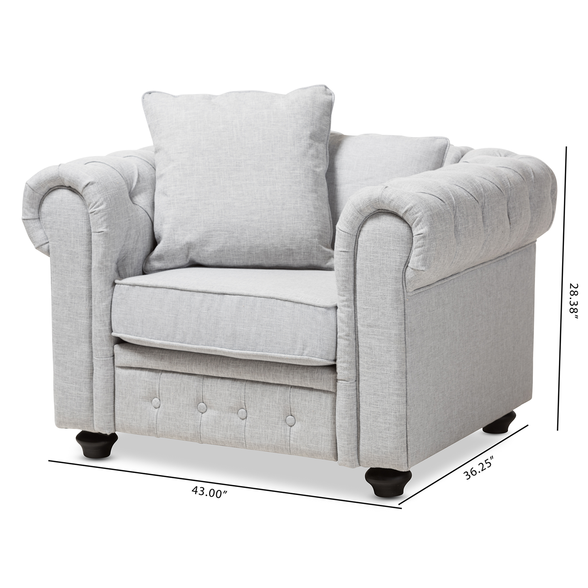 ... Baxton Studio Alaise Modern Classic Grey Linen Tufted Scroll Arm  Chesterfield Chair   IERX1616 Gray