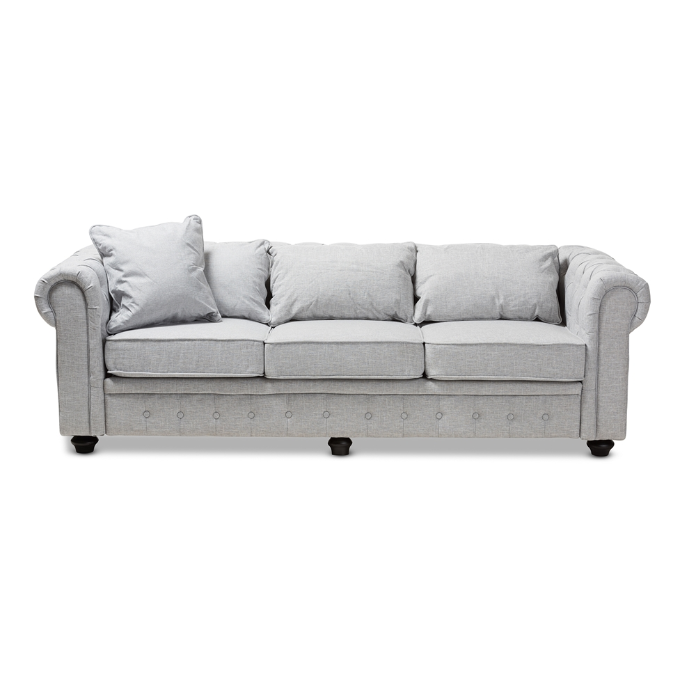 Baxton Studio Alaise Modern Classic Grey Linen Tufted Scroll Arm  Chesterfield Sofa
