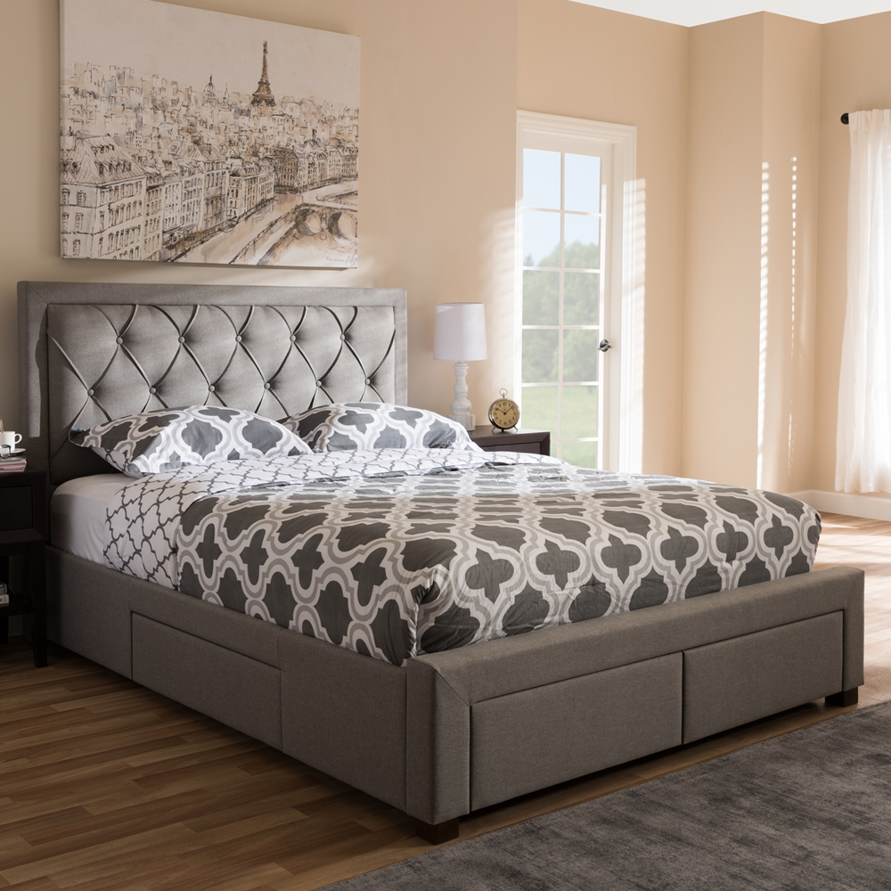 Baxton Studio Aurelie Modern And Contemporary Light Grey Fabric Upholstered King Size Storage Bed Iecf8622