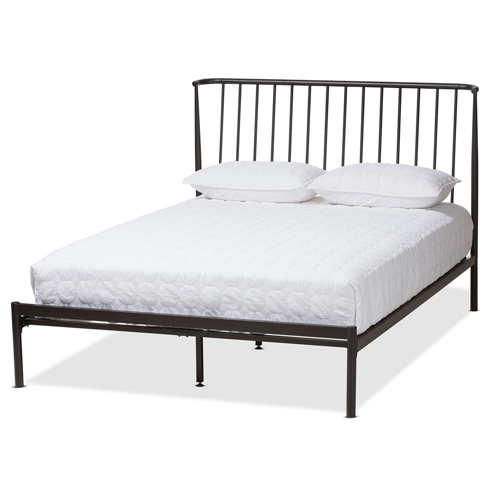 platform bed fabric and bench baxton size queen reena studio modern contemporary grey in built with