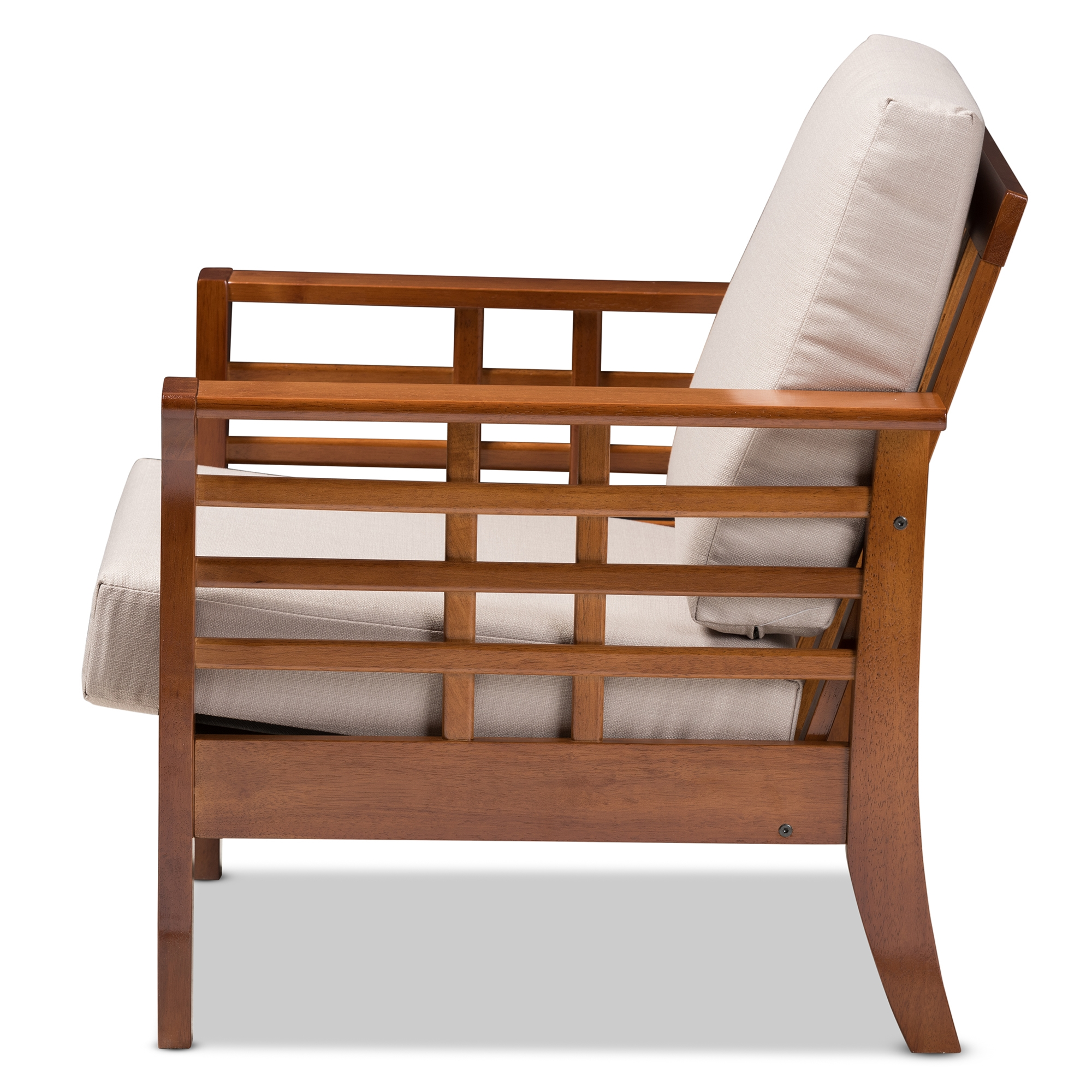 Bon ... Baxton Studio Larissa Modern Classic Mission Style Cherry Finished  Brown Wood And Taupe Fabric High Back ...