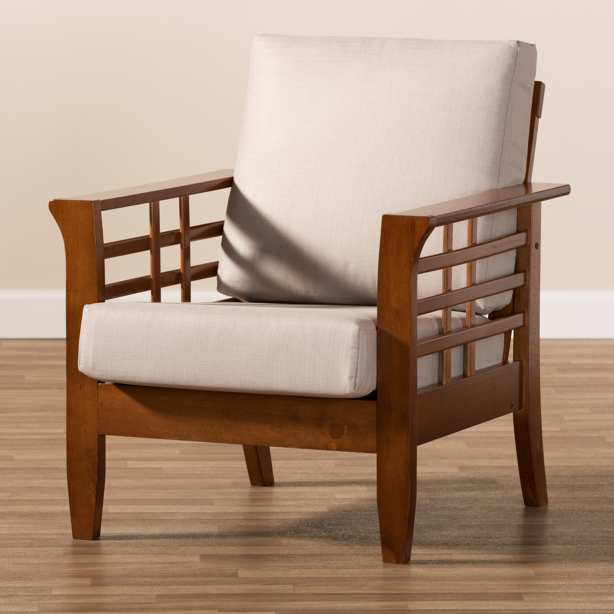 ... Baxton Studio Larissa Modern Classic Mission Style Cherry Finished  Brown Wood And Taupe Fabric High Back ...