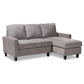Baxton Studio Greyson Modern And Contemporary Light Grey Fabric Upholstered Reversible Sectional Sofa Baxton Studio restaurant furniture, hotel furniture, commercial furniture, wholesale living room furniture, wholesale sofas and loveseats, classic sectional sofas