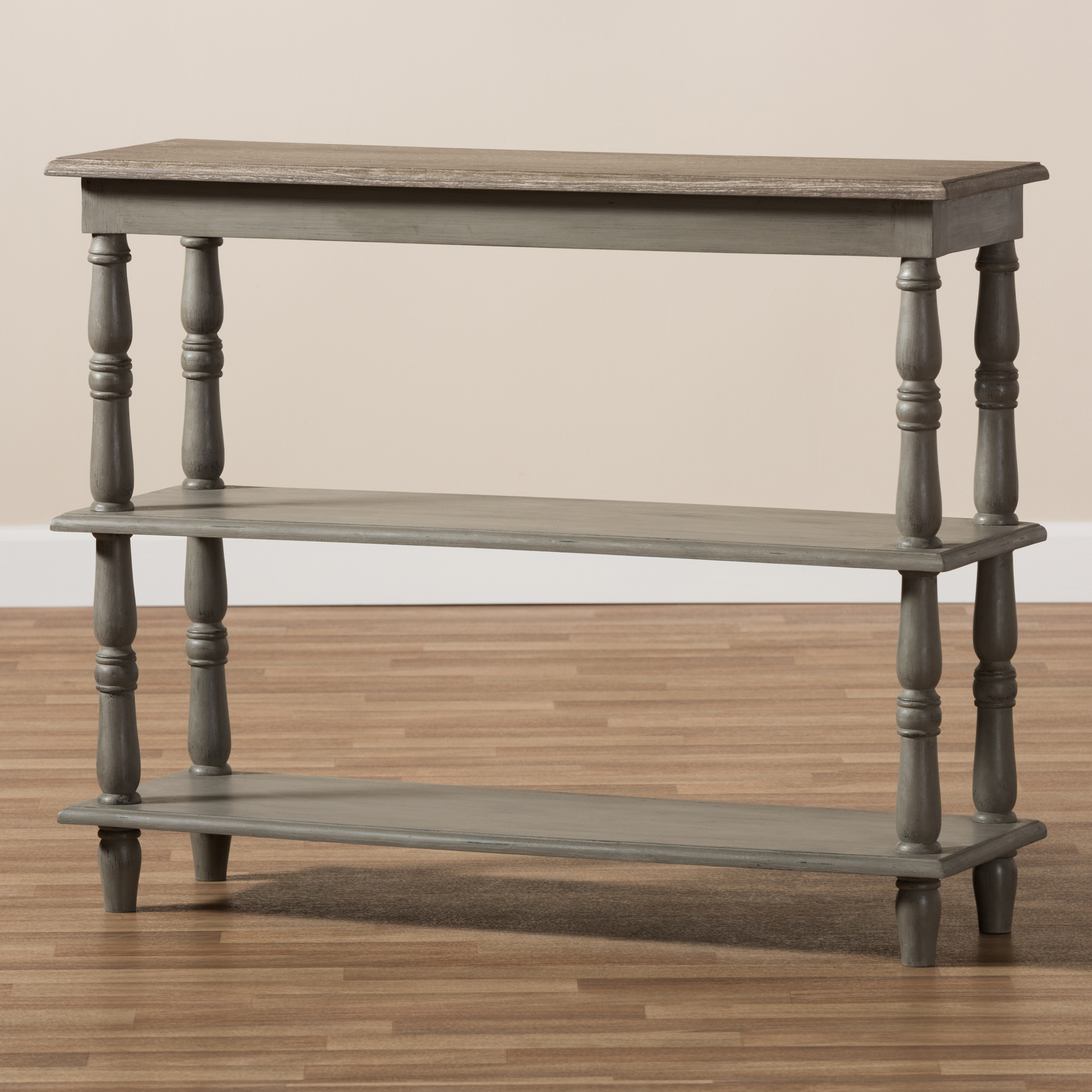 ... Baxton Studio Nellie Country Cottage Farmhouse Weathered Brown Finished  Wood Console Table   IEENF95 Brown ...