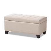 Baxton Studio Michaela Modern and Contemporary Beige Fabric Upholstered Storage Ottoman Baxton Studio restaurant furniture, hotel furniture, commercial furniture, wholesale living room furniture, wholesale ottoman, classic storage ottomans