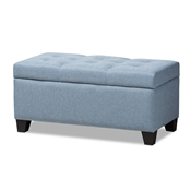 Baxton Studio Michaela Modern and Contemporary Light Blue Fabric Upholstered Storage Ottoman Baxton Studio restaurant furniture, hotel furniture, commercial furniture, wholesale living room furniture, wholesale ottoman, classic storage ottomans