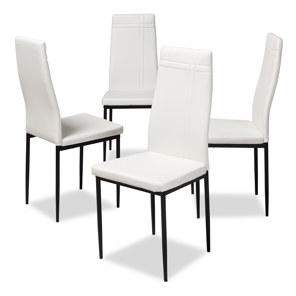 Baxton studio matiese modern and contemporary white faux leather upholstered dining chair set of 4