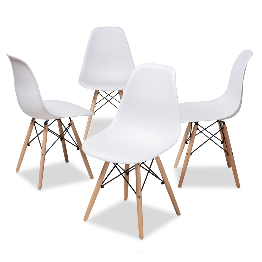 Of Set Chairs 4 Brownfoldingdining: Baxton Studio Sydnea Mid-Century Modern White Acrylic