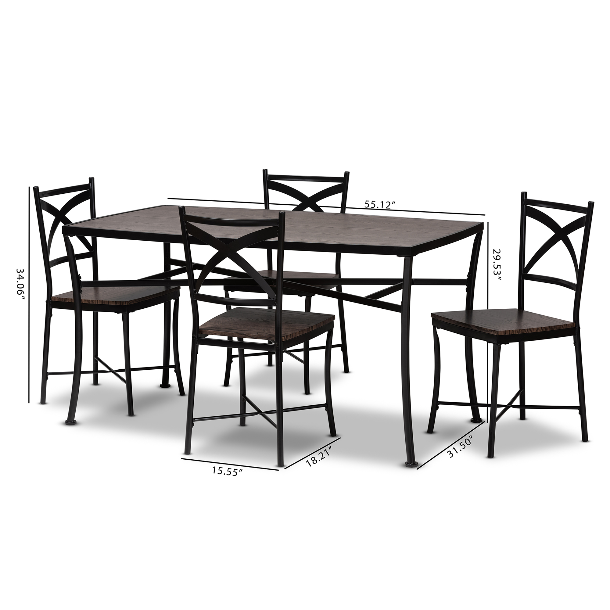 ... Baxton Studio Josie Rustic And Industrial Brown Wood Finished Matte  Black Frame 5 Piece Dining