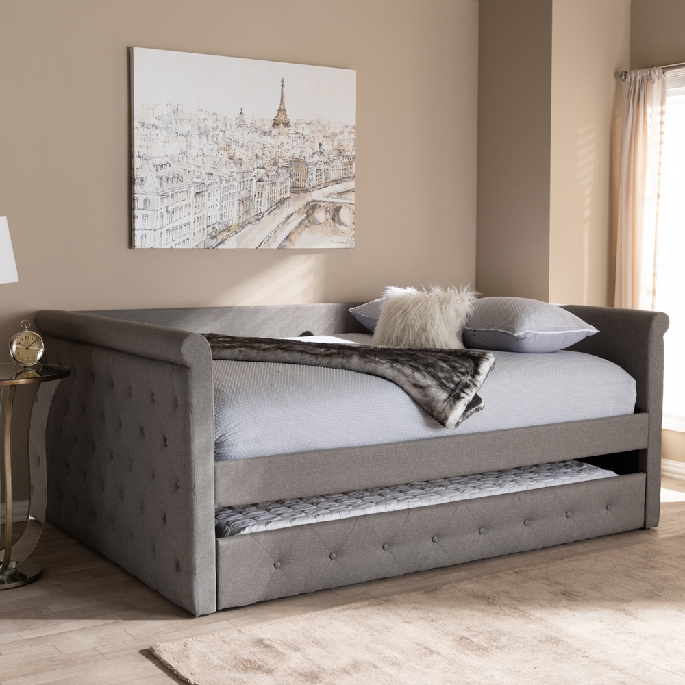 baxton studio alena modern and contemporary grey fabric upholstered full size daybed with trundle. Black Bedroom Furniture Sets. Home Design Ideas