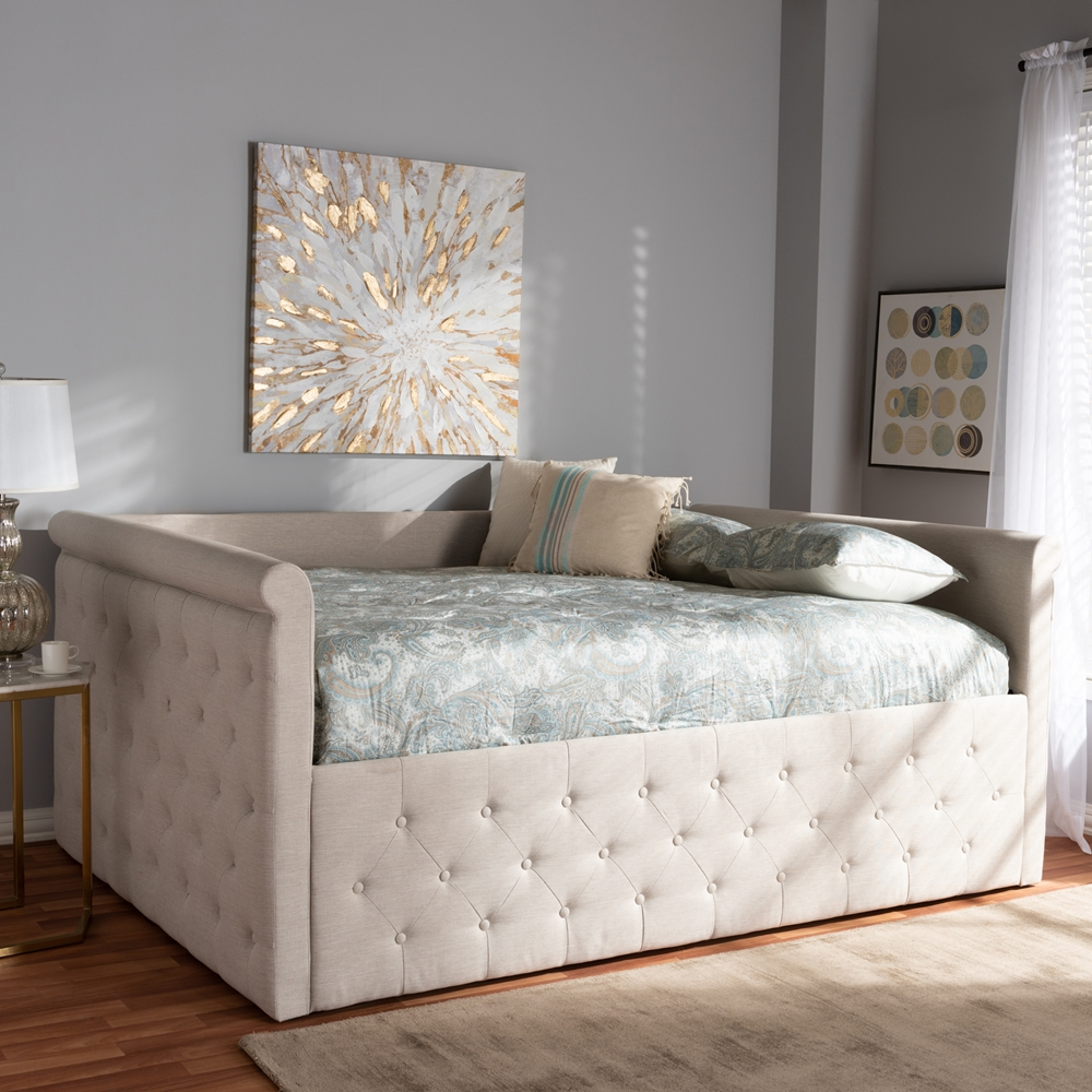 baxton studio amaya modern and contemporary light beige fabric upholstered full size daybed. Black Bedroom Furniture Sets. Home Design Ideas