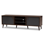 Baxton Studio Samuel Mid-Century Modern Brown and Dark Grey Finished TV Stand