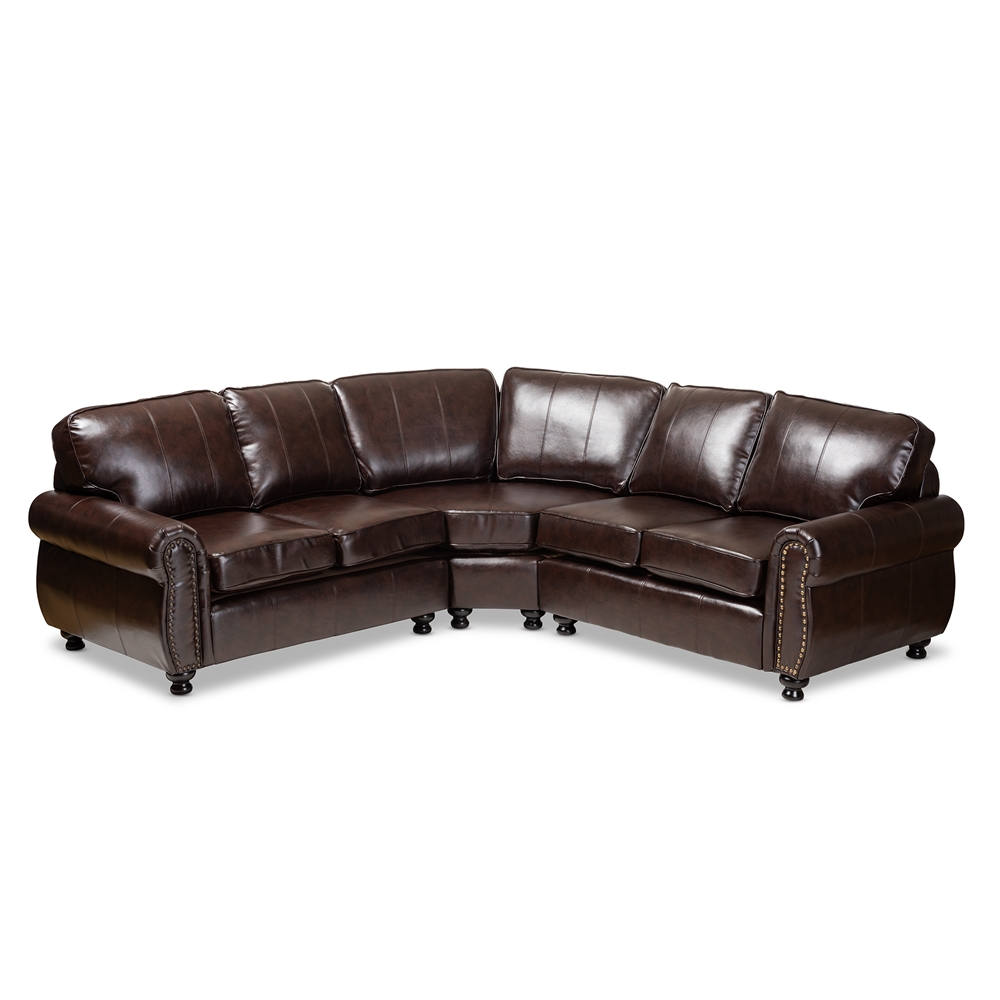Baxton Studio Hammond Modern and Contemporary Dark Brown Faux Leather  Sectional Sofa