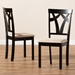 Baxton Studio Sylvia Modern and Contemporary Sand Fabric Upholstered and Espresso Brown Finished Dining Chair Set - IERH146C-Dark Brown/Sand-DC