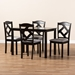 Baxton Studio Ruth Modern and Contemporary Espresso Brown Finished and Grey Fabric Upholstered 5-Piece Dining Set - IERH133C-Dark Brown/Grey Dining Set