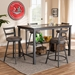 Baxton Studio Arjean Rustic and Industrial Grey Faux Leather Upholstered 5-Piece Pub Set - IEC1866P-Walnut/Grey-5PC-Set