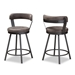 Baxton Studio Arcene Rustic and Industrial Antique Grey Faux Leather Swivel Bar Stool Set of 2 - IECA1802-Grey-BS