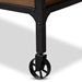 Baxton Studio Alves Vintage Rustic Industrial Style Wood and Dark Bronze Finished Metal Wheeled Console Table with Drawers - IEYLX-2716