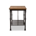 Baxton Studio Perin Vintage Rustic Industrial Style Wood and Bronze-Finished Steel Multipurpose Kitchen Island Table - IEYLX-5014