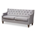 Baxton Studio Celine Modern and Contemporary Grey Fabric Upholstered Button-Tufted 3-Seater Sofa - IECeline-Grey-SF