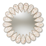 Baxton Studio Savita Modern and Contemporary Antique Silver Finished Round Shell Petal Accent Wall Mirror