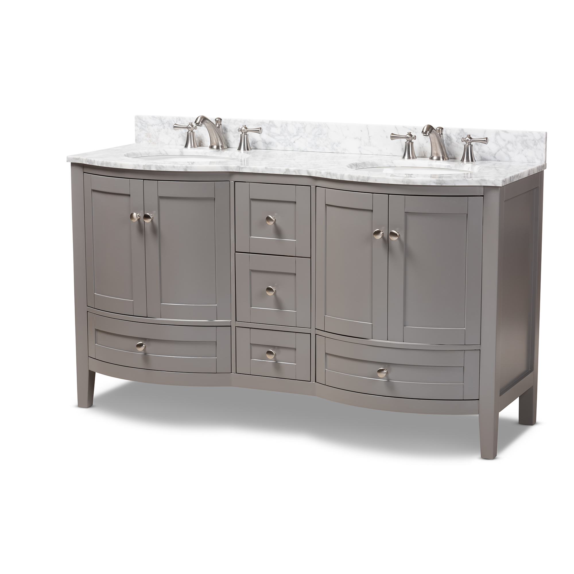 ... Baxton Studio Nicole 60 Inch Transitional Grey Finished Wood And Marble  Double Sink Bathroom Vanity ...