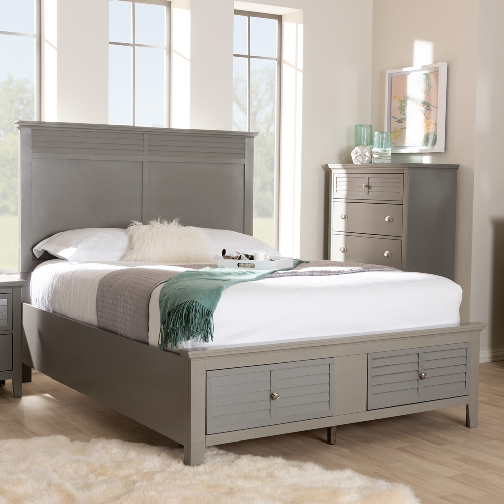 Baxton studio indira transitional grey finished wood 6 piece king size bedroom set for Grey wood bedroom furniture set