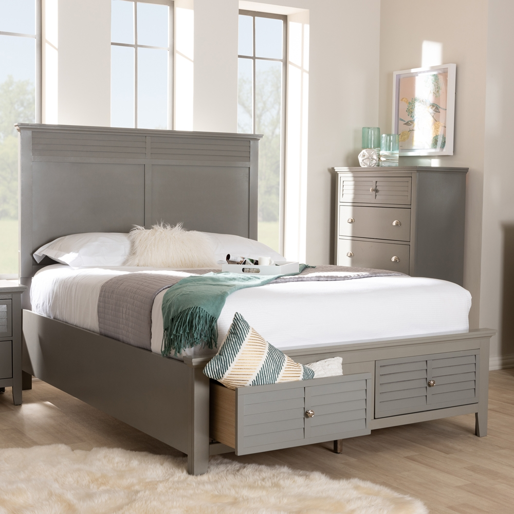 Baxton Studio Indira Transitional Grey Finished Wood 6-Piece King ...
