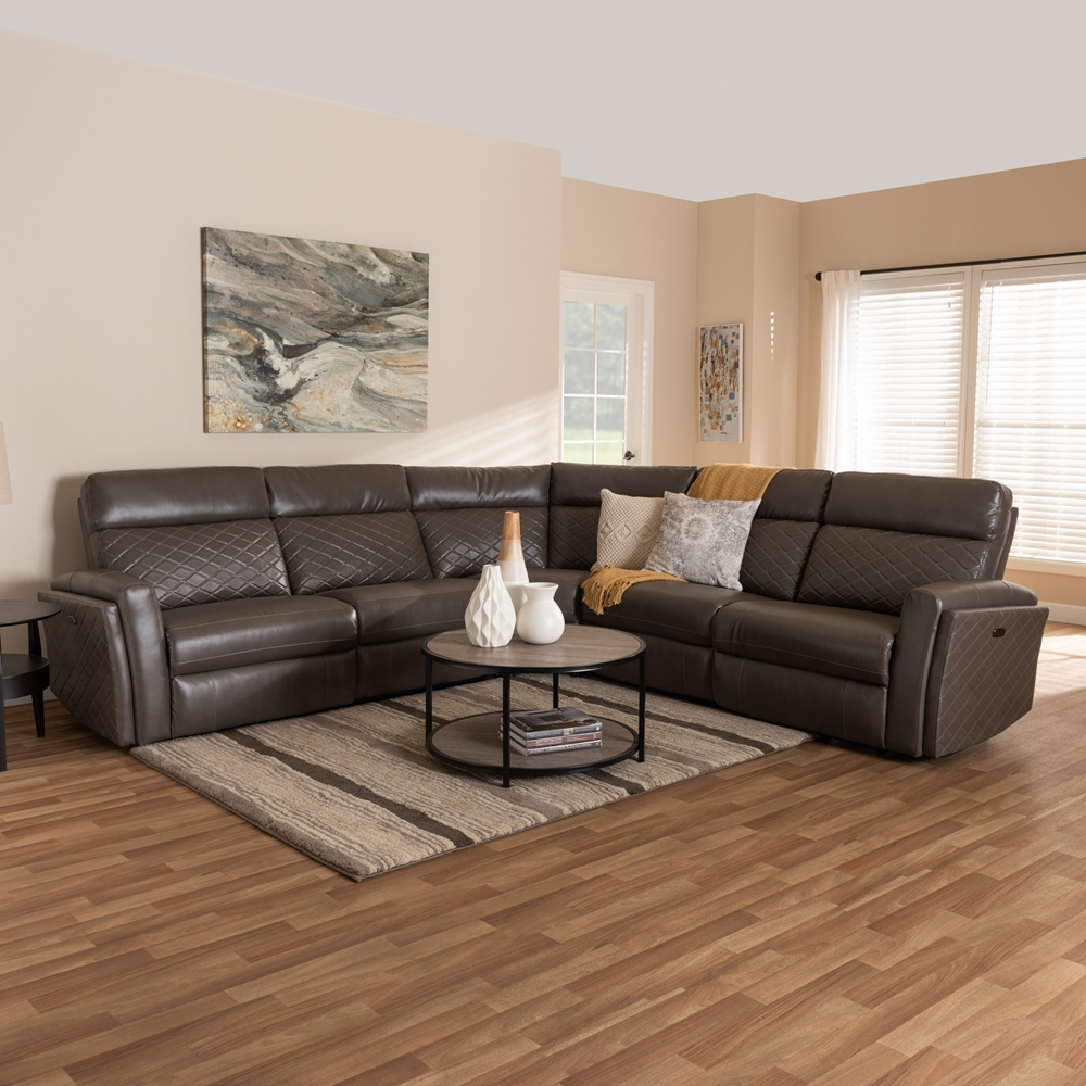 Baxton Studio Alvar Modern and Contemporary Grey Faux Leather Upholstered  3-Piece Power Recliner Sectional Sofa with 2 Reclining Seats and USB Ports
