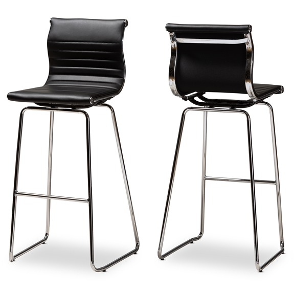 Pleasing Baxton Studio Giorgio Modern And Contemporary Black Faux Leather Upholstered Chrome Finished Steel Counter Stool Set Of 2 Caraccident5 Cool Chair Designs And Ideas Caraccident5Info