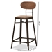 Baxton Studio Varek Vintage Rustic Industrial Style Bamboo and Rust-Finished Steel Stackable Bar Stool Set of 2 - IET-5846-Rust-BS