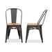 Baxton Studio Henri Vintage Rustic Industrial Style Tolix-Inspired Bamboo and Gun Metal-Finished Steel Stackable Dining Chair Set of 2 - IET-5816-Gun-DC