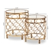Baxton Studio Aliya Modern and Contemporary Antique Gold Finished Metal and Glass 2-Piece Stackable Accent Table Set - IEHE17T051-2PC Set