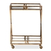 Baxton Studio Laurent Modern and Contemporary Antique Gold Finished 2-Tier Mobile Bar Cart - IEHE17T263