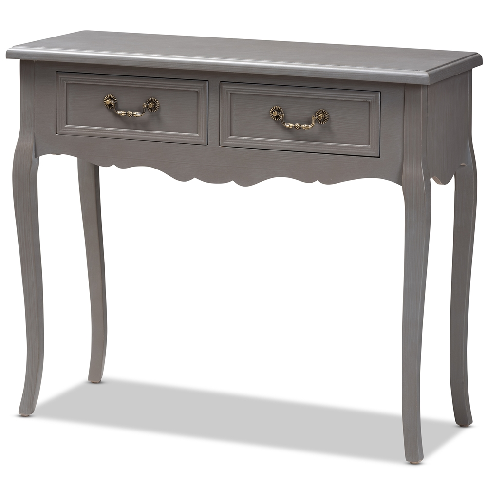 Astounding Baxton Studio Capucine Antique French Country Cottage Grey Finished Wood 2 Drawer Console Table Spiritservingveterans Wood Chair Design Ideas Spiritservingveteransorg