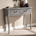 Baxton Studio Capucine Antique French Country Cottage Grey Finished Wood 2-Drawer Console Table - IEJY18A026-Grey-Console
