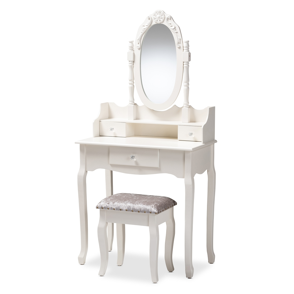 Strange Baxton Studio Veronique Traditional French Provincial White Finished Wood 2 Piece Vanity Table With Mirror And Ottoman Andrewgaddart Wooden Chair Designs For Living Room Andrewgaddartcom