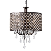 Baxton Studio Gitana Modern and Contemporary Dark Bronze Metal and Crystal 4-Light Drum Pendant Light Chandelier Baxton Studio restaurant furniture, hotel furniture, commercial furniture, wholesale living room furniture, wholesale ceiling lamps, classic ceiling lamps