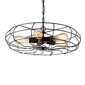 Baxton Studio Jisa Vintage Industrial Black Metal 5-Light Cage Fan Pendant Light Baxton Studio restaurant furniture, hotel furniture, commercial furniture, wholesale living room furniture, wholesale ceiling lamps, classic ceiling lamps