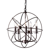 Baxton Studio Nerea Vintage Industrial Dark Bronze Metal 5-Light Orb Cage Chandelier Baxton Studio restaurant furniture, hotel furniture, commercial furniture, wholesale living room furniture, wholesale ceiling lamps, classic ceiling lamps