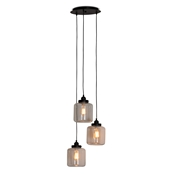 Baxton Studio Solana Vintage Industrial Black Metal 3-Light Glass Jar Pendant Light Baxton Studio restaurant furniture, hotel furniture, commercial furniture, wholesale living room furniture, wholesale ceiling lamps, classic ceiling lamps