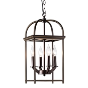 Baxton Studio Linez Vintage Rustic Farmhouse Dark Bronze Metal 4-Light Lantern Pendant Light Baxton Studio restaurant furniture, hotel furniture, commercial furniture, wholesale living room furniture, wholesale ceiling lamps, classic ceiling lamps