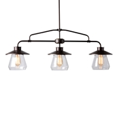Baxton Studio Raissa Vintage Industrial Dark Bronze Metal and Glass 3-Light Kitchen Island Pendant Light Baxton Studio restaurant furniture, hotel furniture, commercial furniture, wholesale living room furniture, wholesale ceiling lamps, classic ceiling lamps